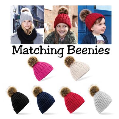 Matching Pom Pom Beanies