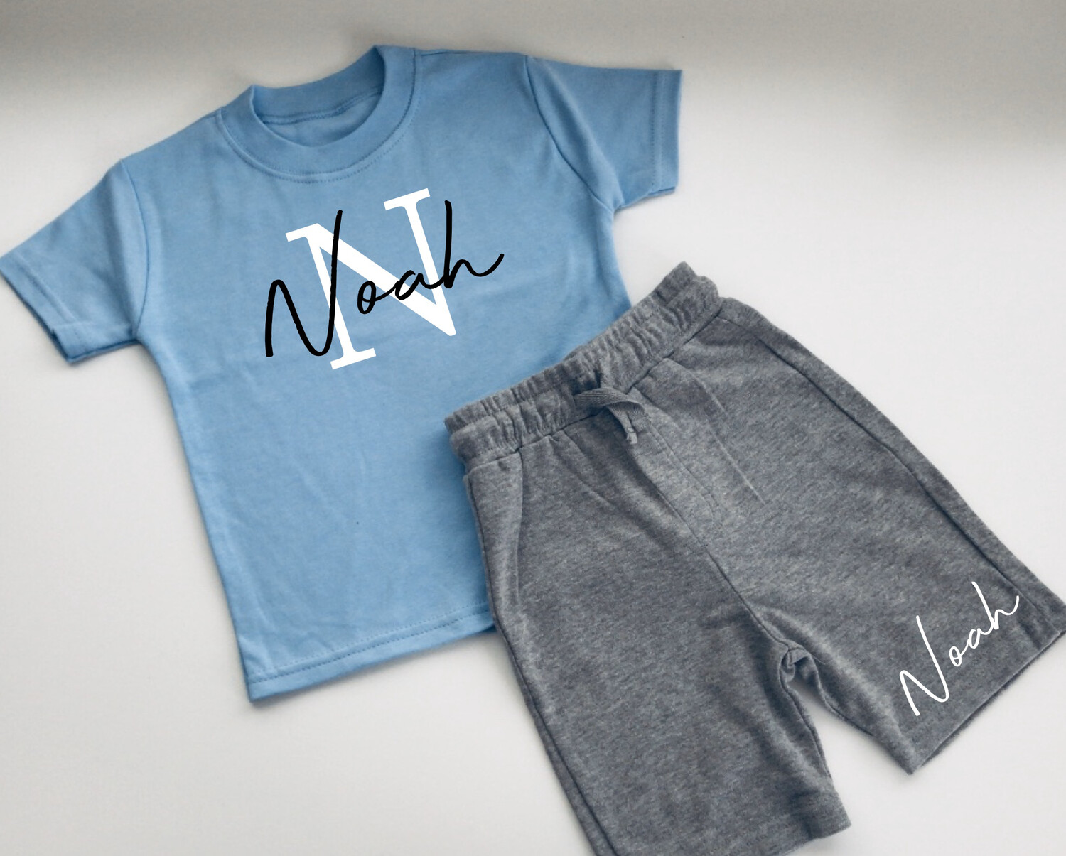 Initial and signature name (thinner font) T-shirt And Shorts Set