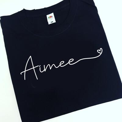 Name swirly heart T-shirt