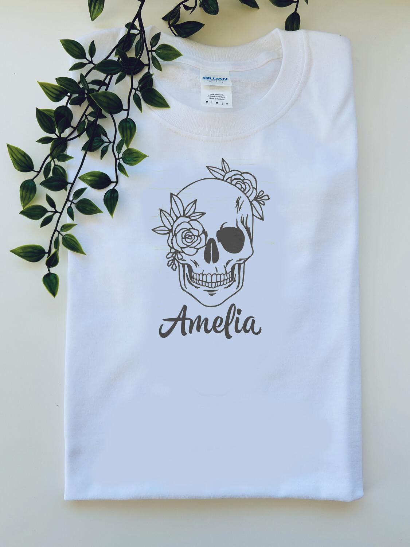 Flowery Skull name  T-shirt