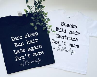 Mumlife And Toddler life T-shirt matching set
