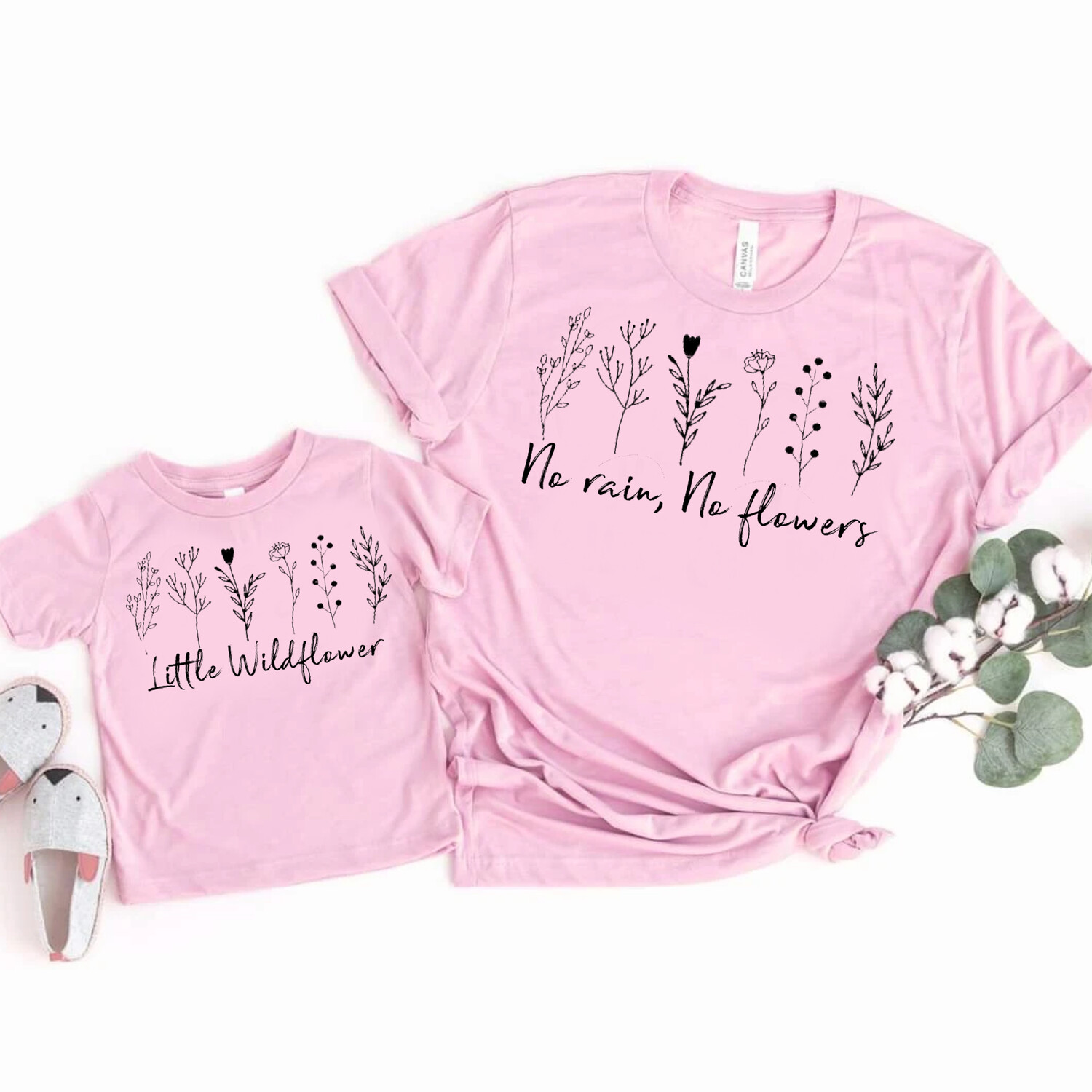 Flowers And Wildflower T-shirt matching set