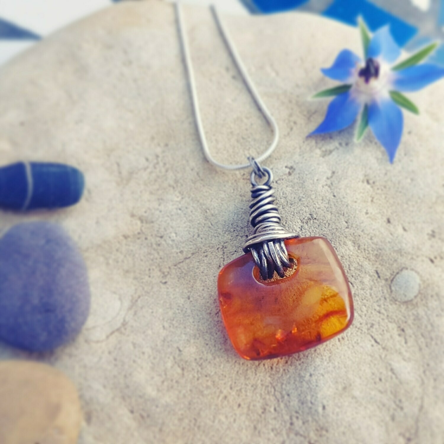 Amber Protection and Bravery Necklace