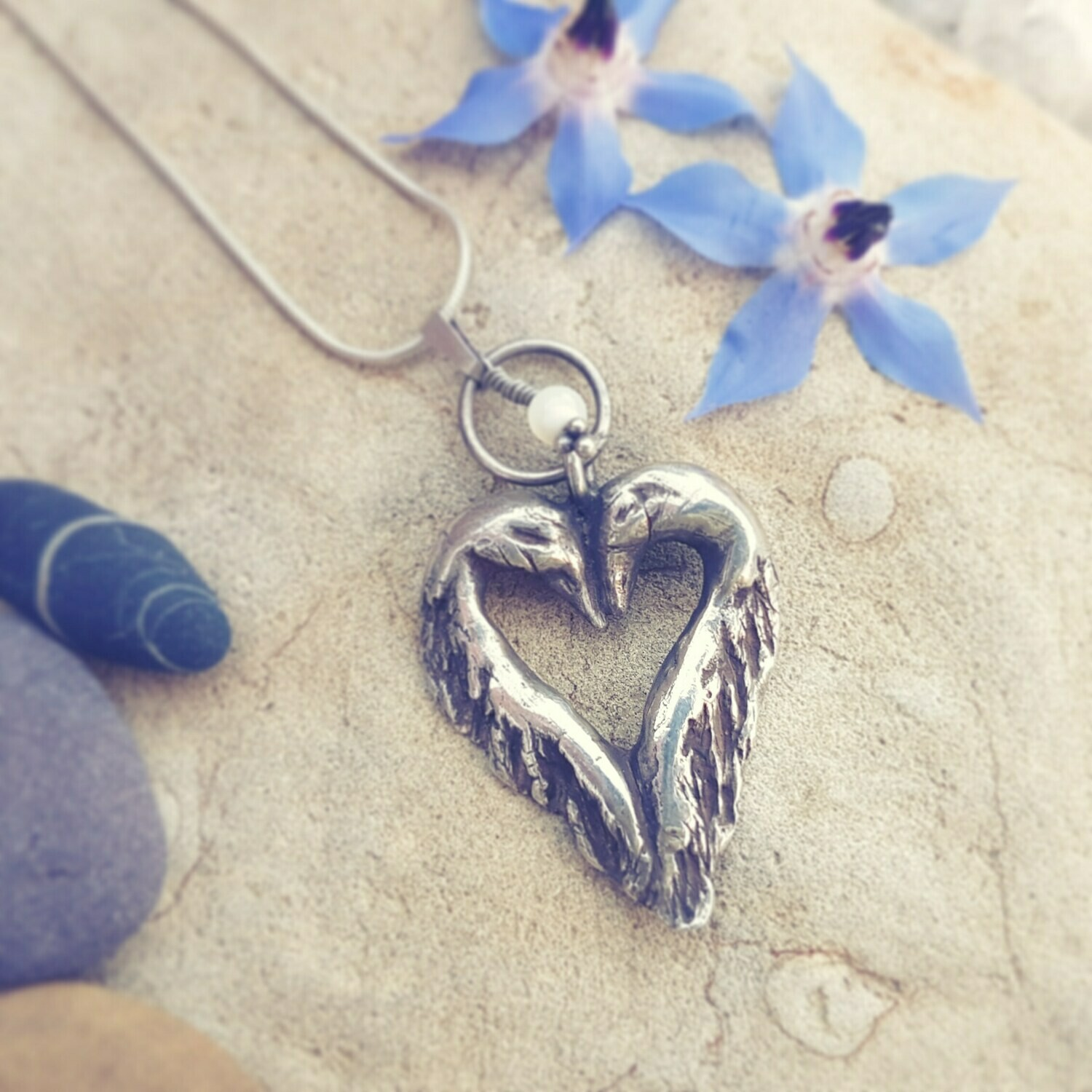 Kissing Swans in Love Pendant Necklace