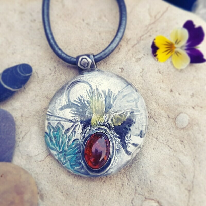 Bumble Bee Amber Protection Healing Pendant
