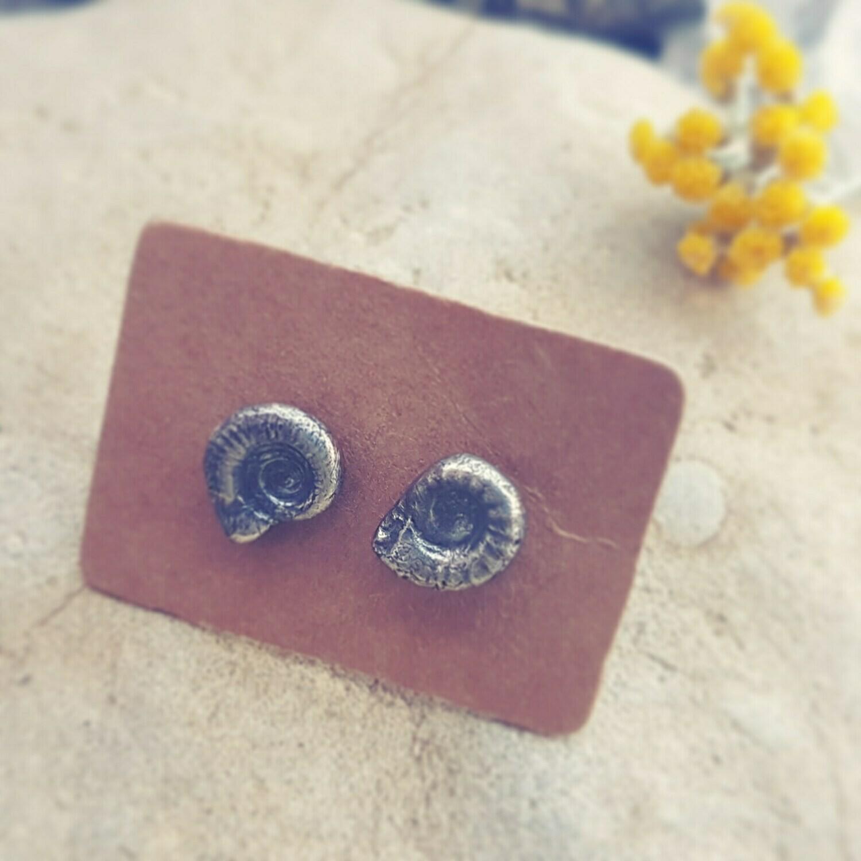 Ammonite Infinity Stud Earrings