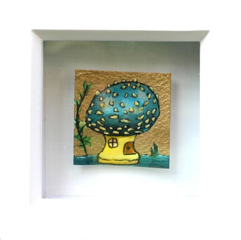 Mini Blue Agaric Shroom House Drawing