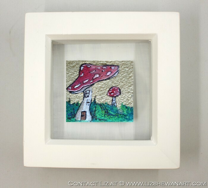 Mini Red Agaric Shroom House Drawing