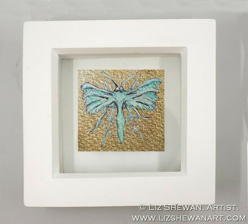 Mini Teal Moth Drawing 2