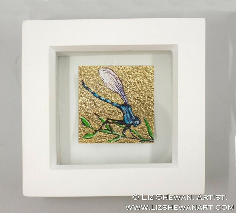 Mini Blue DragonFly Drawing