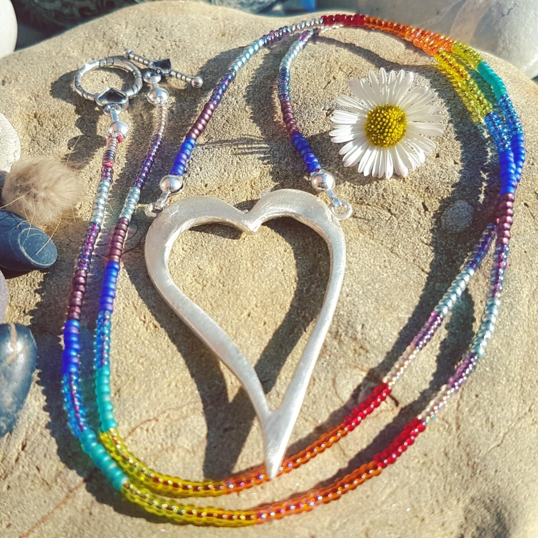 Love Charm Heart Rainbow Necklace
