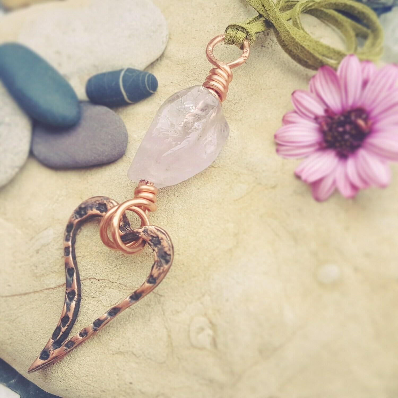 Love Charm Rose Quartz Copper Heart Amulet Pendant