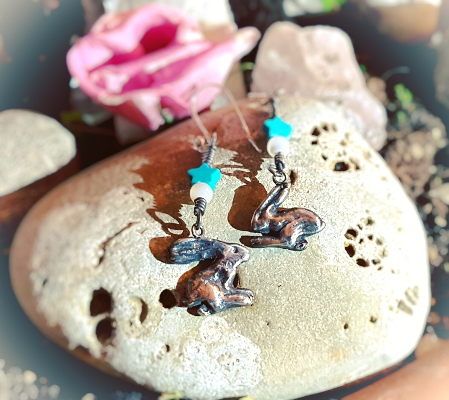 Running Hare Fertility Love Charm Earrings