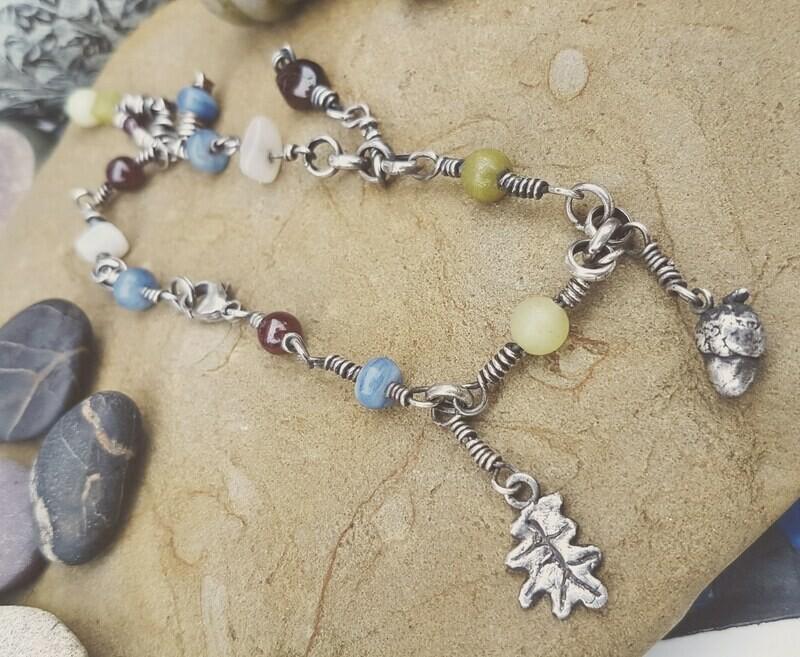 Acorn Leaf Crystal Charm Bracelet
