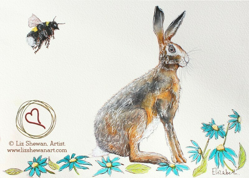 Bumble and the Hare in the Blue Flowers