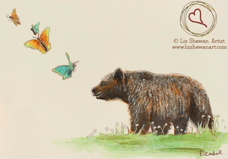 Brown Bear Out Walking with the Butterflies