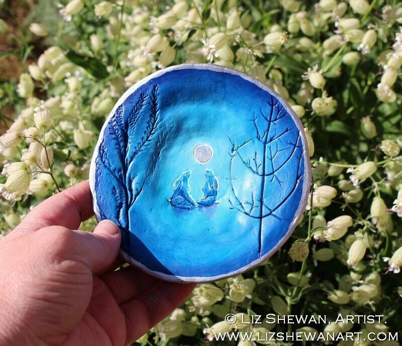MoonGazing Hares Trinket Dish