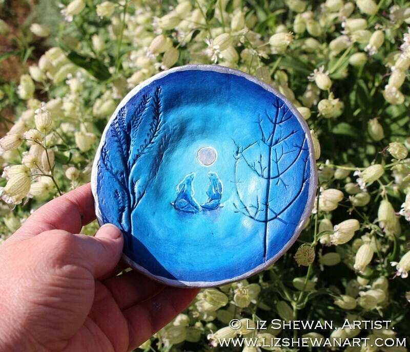 MoonGazing Hares Trinket Dish
