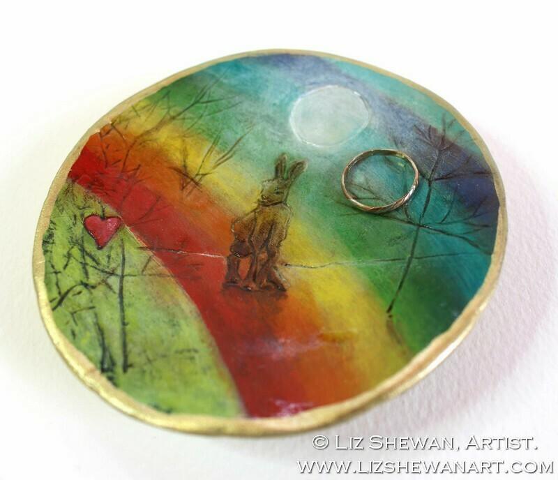 Rainbow Hare Trinket Dish | Miniature Painting