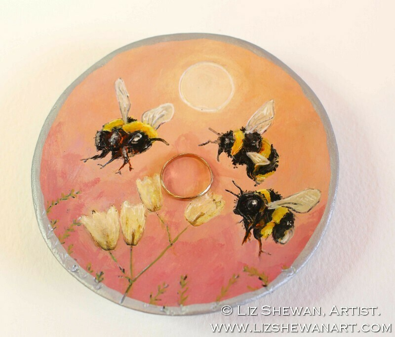 Beauty Bees Pink Trinket Dish   Miniature Painting