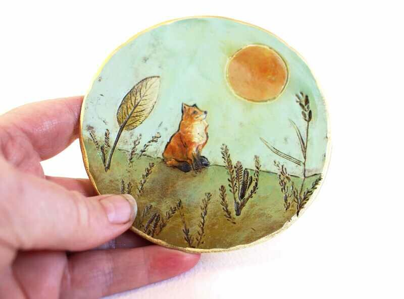 Sunbathing Fox Trinket Dish | Miniature Painting
