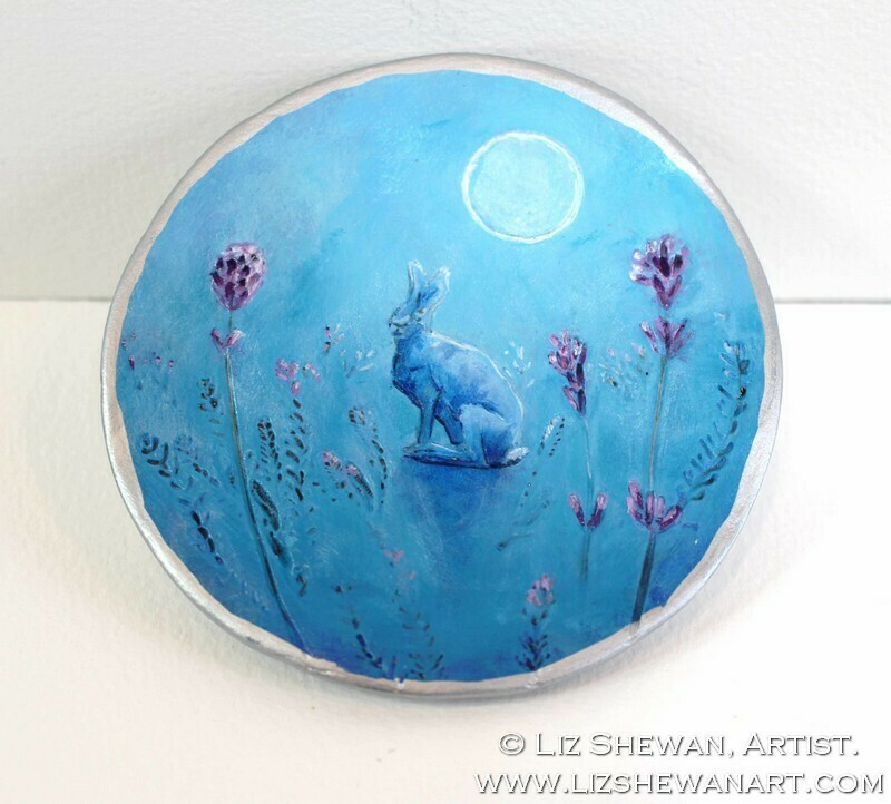 Lavender Hare Trinket Ring Dish | Miniature Painting