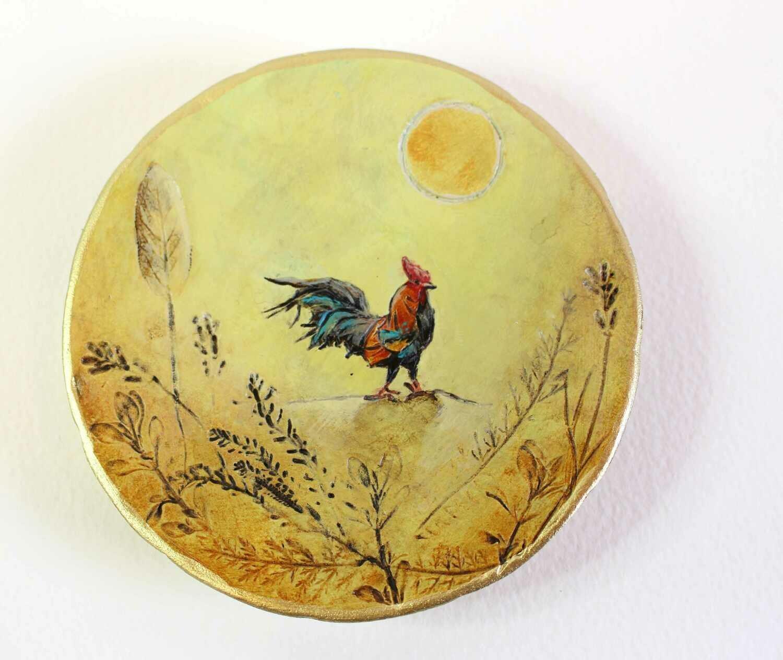 Rooster Sunshine Trinket Dish   Miniature Painting