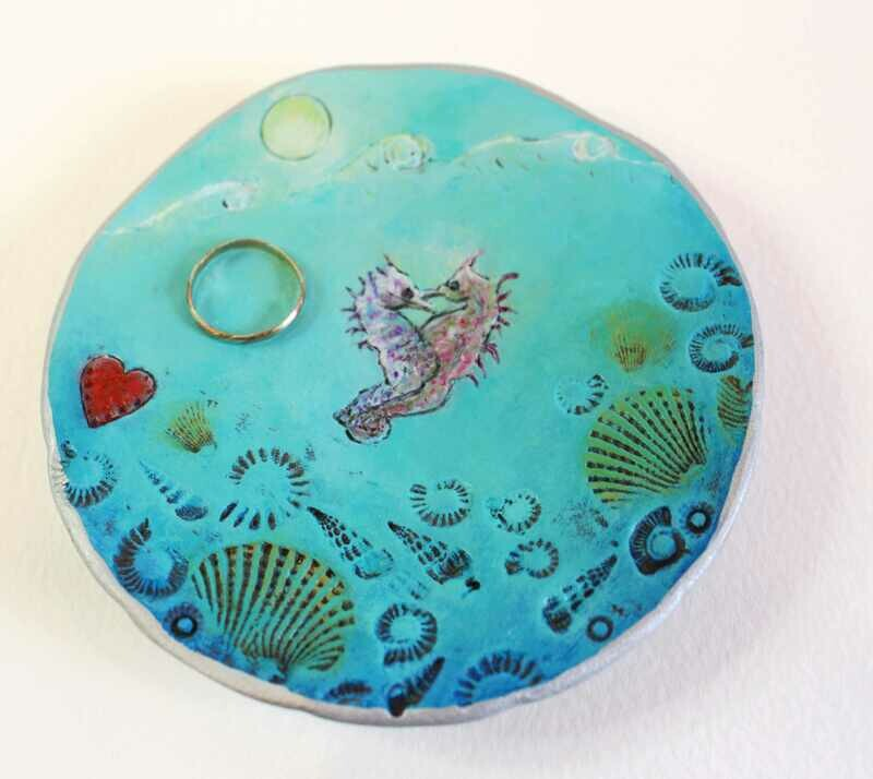 Love Seahorses Trinket Dish | Miniature Painting