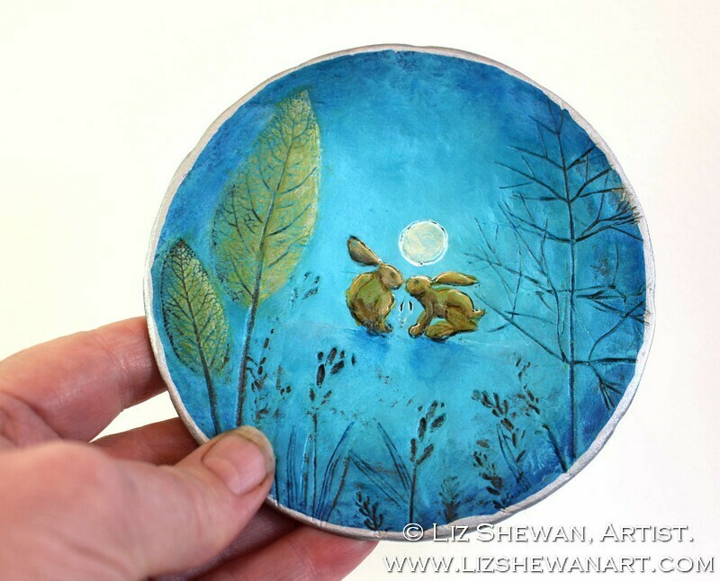 Kissing Moonlit Hares Trinket Ring Dish | Miniature Painting