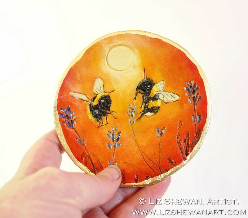 Bumble Bees Warmth in the Sun Trinket Dish | Miniature Painting