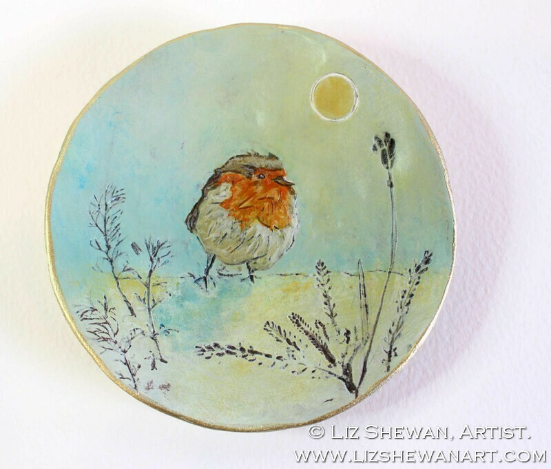 Fluffy Robin Trinket Dish | Miniature Painting