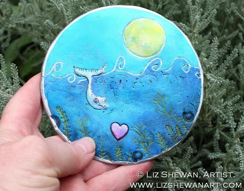 Whale Ocean Love Trinket Dish   Miniature Painting