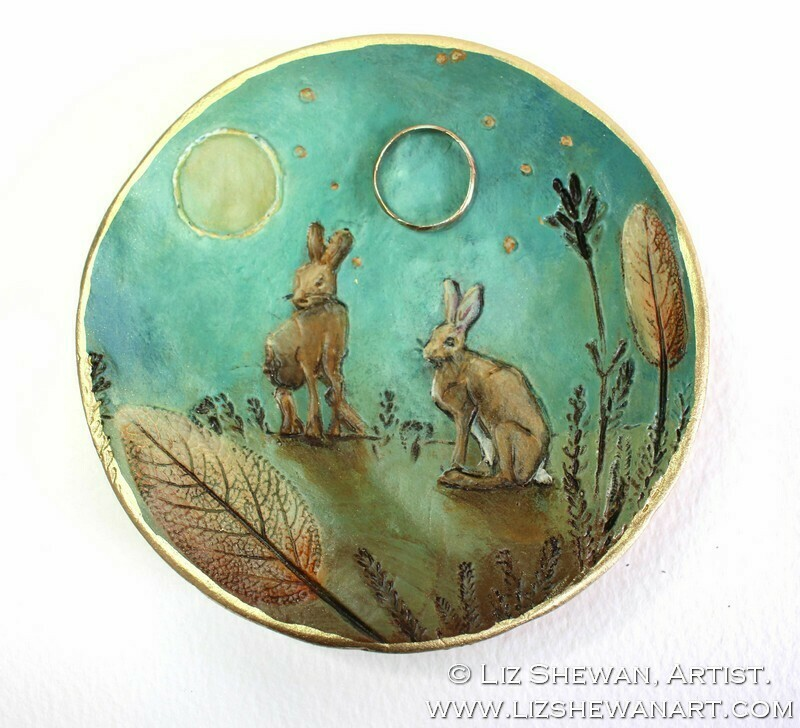 Sage Hares Green Trinket Ring Dish | Miniature Painting