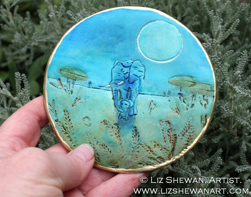 Blue Elephant Mother and Child Trinket Ring Dish | Miniature Painting