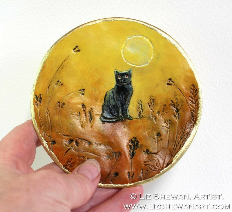 Black Cat Trinket Dish | Miniature Painting