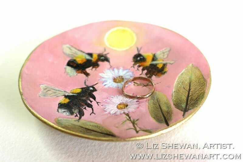 Beauty Bees Trinket Dish | Miniature Painting