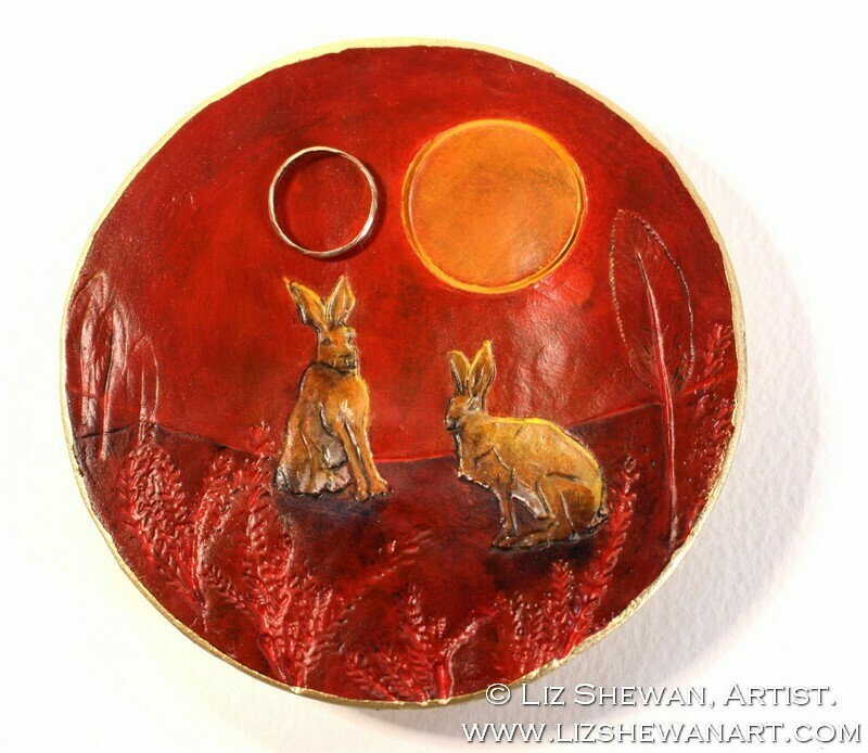 Hares Red Trinket Dish | Miniature Painting