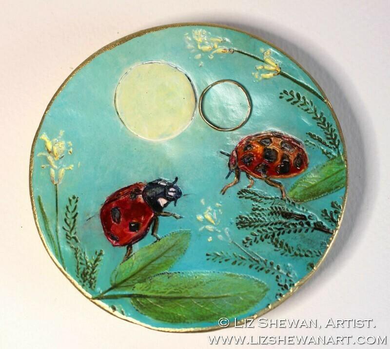LadyBug Trinket Dish   Miniature Painting
