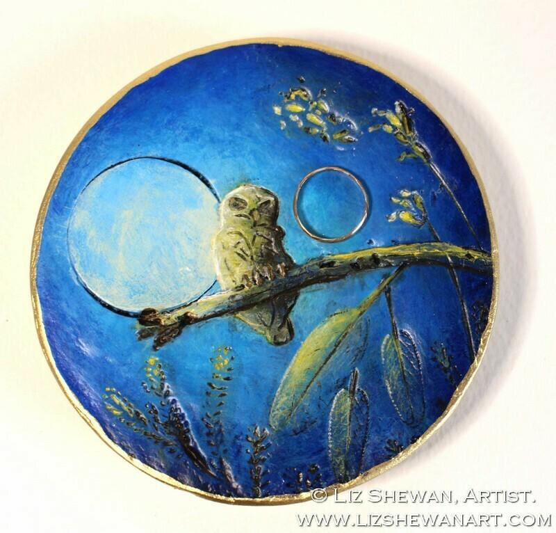 Owl Moonlight Trinket Dish | Miniature Painting