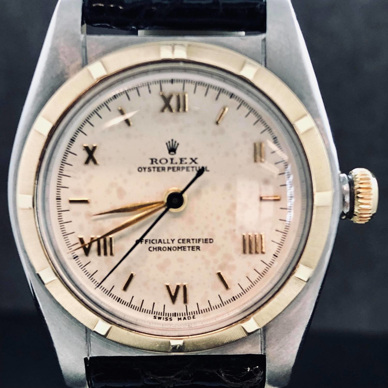 Rolex Bubble Back Gold / Steel ' 5011 ' Rare Roman Dial