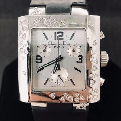 Dior Riva Chronograph, Diamonds, Steel, Quartz, Date, 31MM
