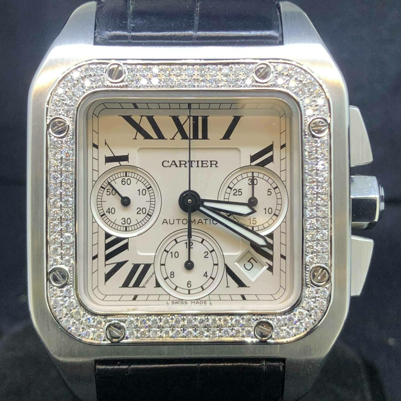 Cartier Santos 100XL Chronograph, Diamonds, 41MM, Automatic, B&P2010