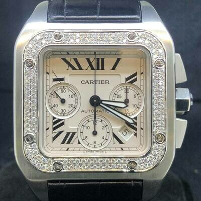 Cartier Santos 100XL Chronograph, Diamonds, 41MM, Automatic, B&P2010