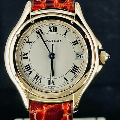 Cartier Cougar 26MM Yellow Gold 18kt Date Silver Dial Mint Condition