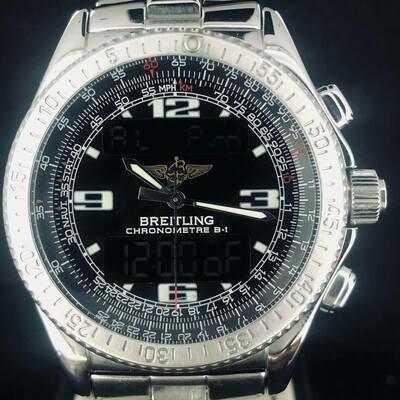 Breitling B-1, Super Quartz, Steel, Chronometer 43MM, Digital Watch