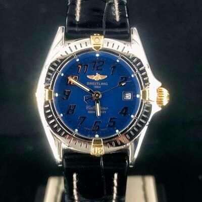 Breitling Callistino 28MM Gold Steel Quartz Blue Dial - MINT