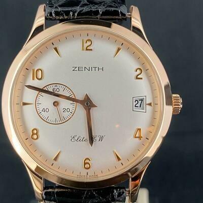 Zenith Elite HW 18kt Rose Gold 37MM Manual Winding Silver Dial MINT