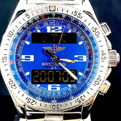 Breitling B-1 Blue Dial Super Quartz, Steel, Chronometer 43MM, Digital
