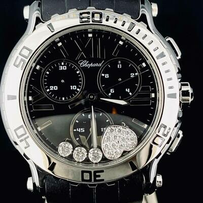 Chopard Happy Sport Heart Diamonds Chronograph Ceramic/Steel 42MM