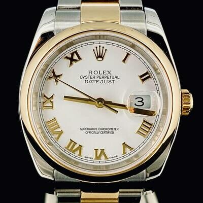 Rolex Datejust 36MM Gold/Steel White Dial Automatic MINT
